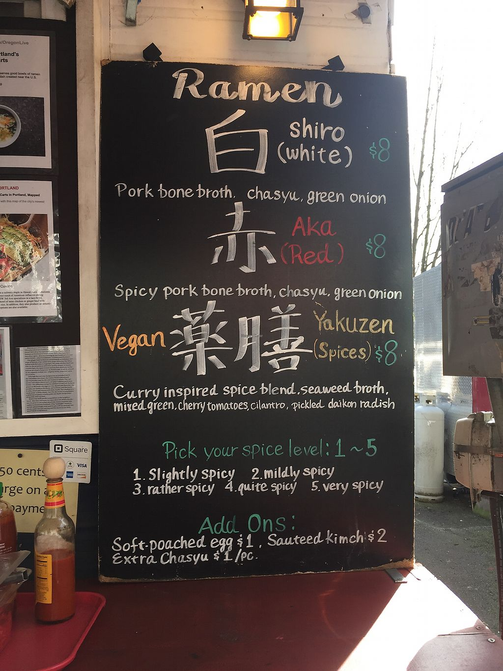 """Photo of Richi's - Food Cart  by <a href=""""/members/profile/schonstal"""">schonstal</a> <br/>Ramen menu  <br/> March 12, 2018  - <a href='/contact/abuse/image/114085/369932'>Report</a>"""