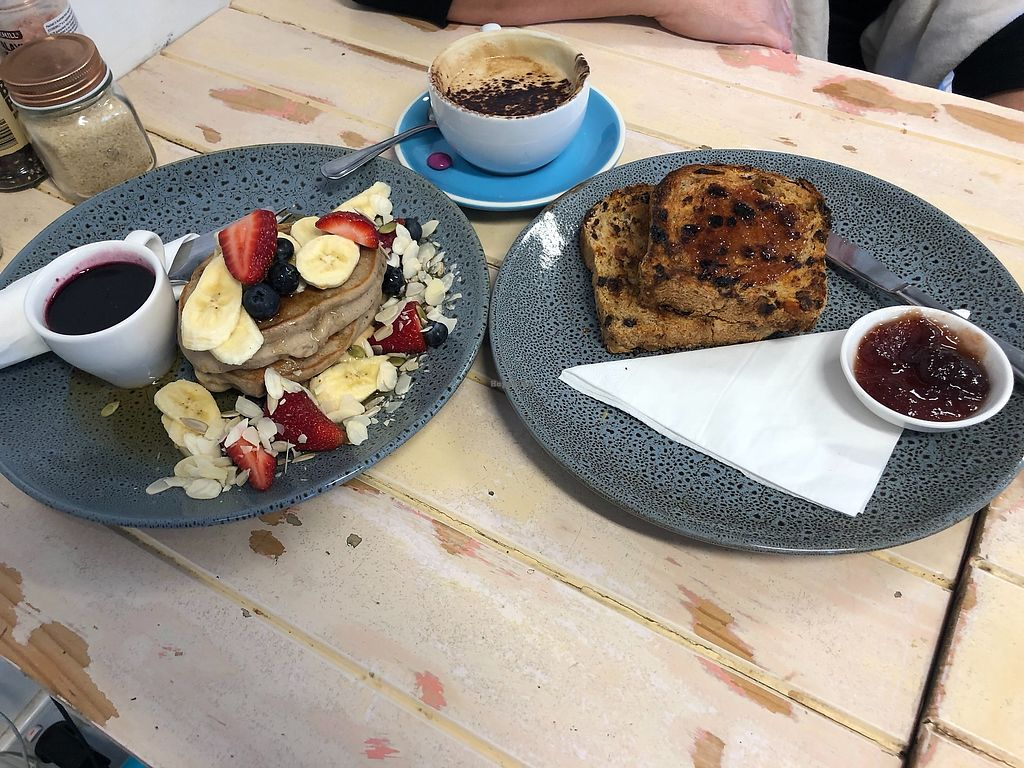 """Photo of The Farmer's Wife  by <a href=""""/members/profile/tardis3"""">tardis3</a> <br/>pancakes with banana & strawberries, raisin toast & coffee with almond milk <br/> March 10, 2018  - <a href='/contact/abuse/image/114134/368749'>Report</a>"""