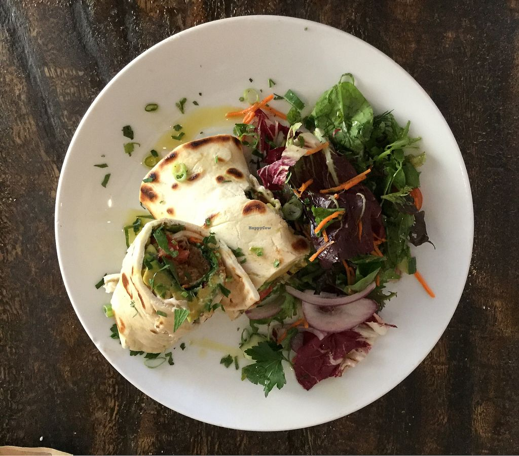 """Photo of The Burrow  by <a href=""""/members/profile/Mike%20Munsie"""">Mike Munsie</a> <br/>vegan wrap + salad <br/> March 17, 2018  - <a href='/contact/abuse/image/114138/371674'>Report</a>"""