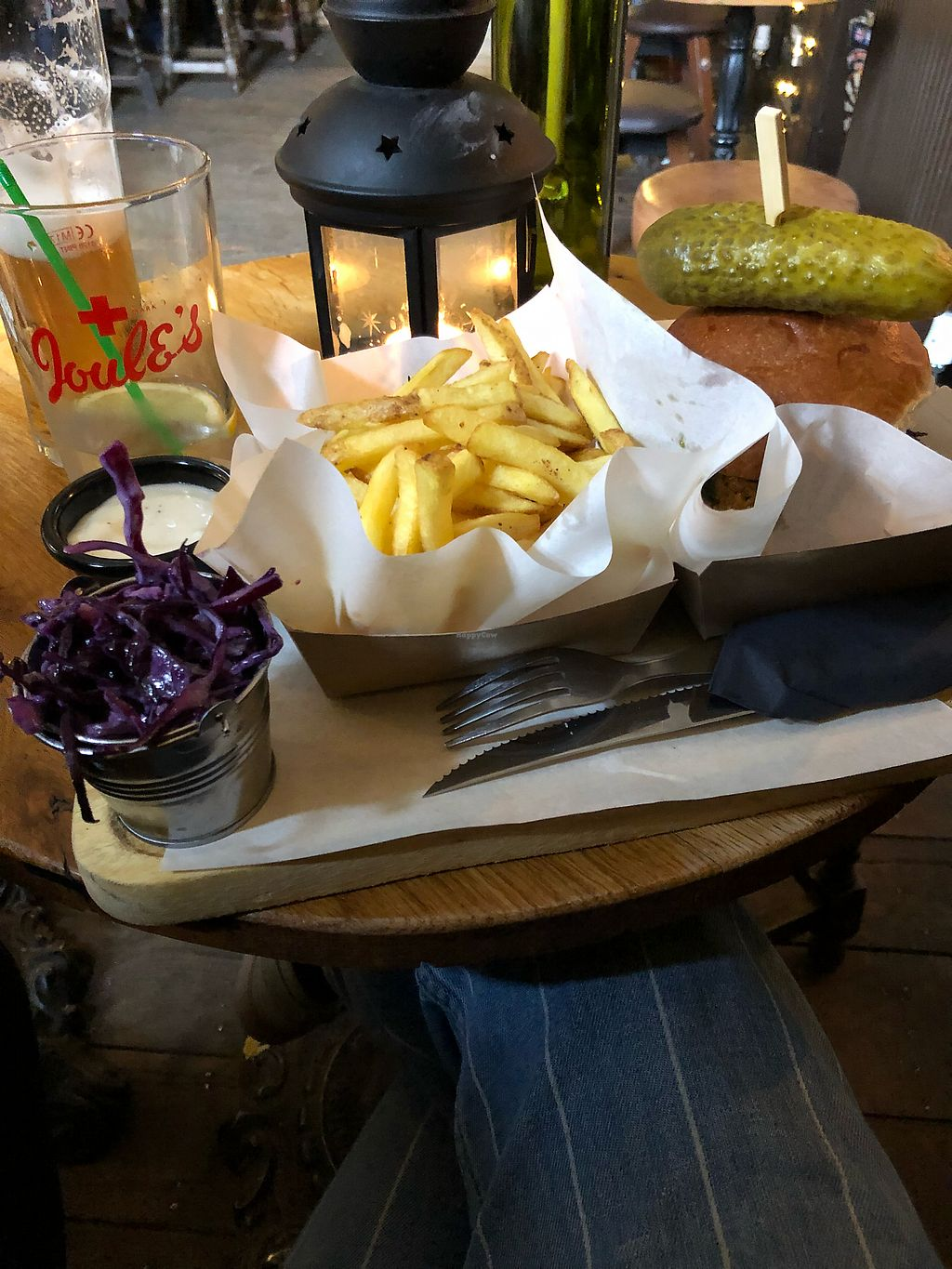 "Photo of The Dolphin Inn  by <a href=""/members/profile/megmate"">megmate</a> <br/>Vegan sausage patty with pesto, sundried tomato, beetroot crisps, with chips and slaw  <br/> April 8, 2018  - <a href='/contact/abuse/image/114183/382551'>Report</a>"