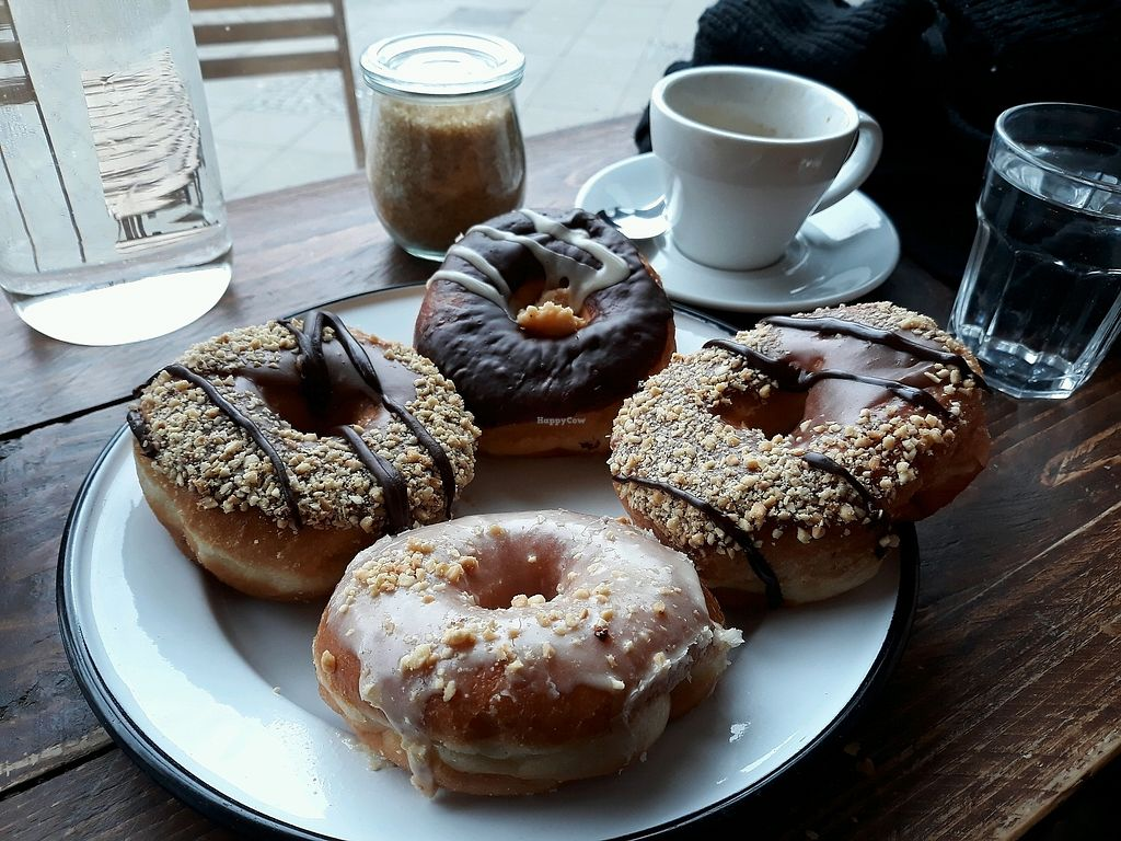 """Photo of Brammibal's Donuts - Danziger  by <a href=""""/members/profile/HannaStra%C3%9Fburger"""">HannaStraßburger</a> <br/>vegan Donuts, Nougat, peanut-butter <br/> April 14, 2018  - <a href='/contact/abuse/image/114213/385865'>Report</a>"""