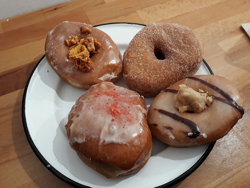 """Photo of Brammibal's Donuts - Danziger  by <a href=""""/members/profile/HannaStra%C3%9Fburger"""">HannaStraßburger</a> <br/>vegan donut-selection <br/> April 14, 2018  - <a href='/contact/abuse/image/114213/385866'>Report</a>"""
