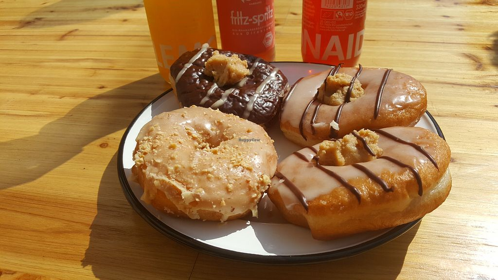 """Photo of Brammibal's Donuts - Danziger  by <a href=""""/members/profile/totalpanik"""">totalpanik</a> <br/>Chocolate peanut fudge, 2 banana peanut fudge and salted caramel <br/> May 1, 2018  - <a href='/contact/abuse/image/114213/393497'>Report</a>"""