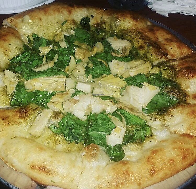 """Photo of Harvest Pizzeria  by <a href=""""/members/profile/Tabgreenvegan"""">Tabgreenvegan</a> <br/>Almond Pesto Vegan Pizza <br/> March 28, 2018  - <a href='/contact/abuse/image/114266/377478'>Report</a>"""