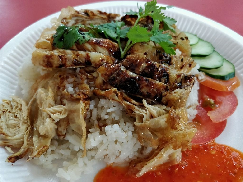 """Photo of An Xin Vegan Stall  by <a href=""""/members/profile/JimmySeah"""">JimmySeah</a> <br/>mock chicken rice <br/> March 23, 2018  - <a href='/contact/abuse/image/114347/374674'>Report</a>"""