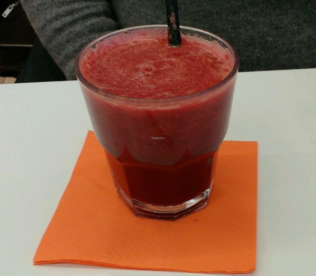 "Photo of BioFood  by <a href=""/members/profile/Susan1"">Susan1</a> <br/>Beetroot, carrot and apple juice <br/> March 25, 2018  - <a href='/contact/abuse/image/114401/375888'>Report</a>"
