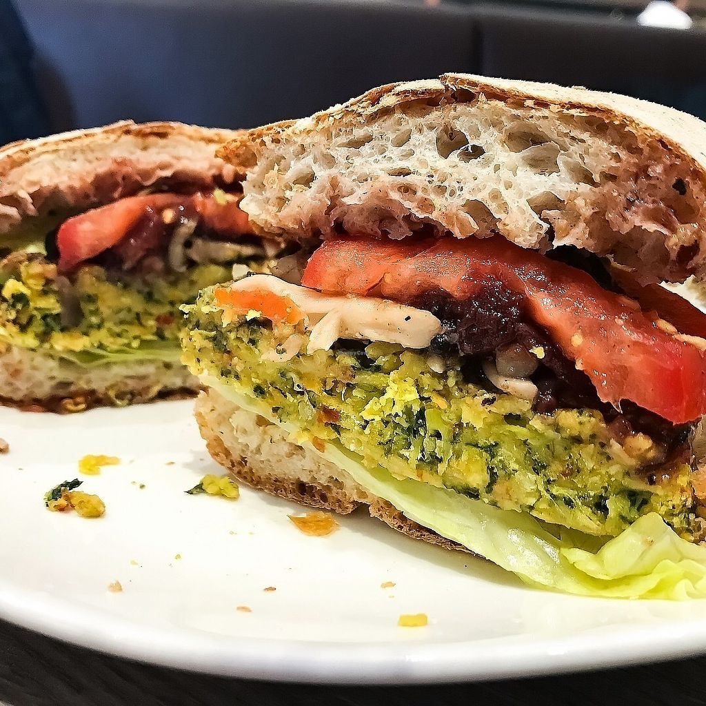 """Photo of Cedele - Suntec City  by <a href=""""/members/profile/Sweetveganneko"""">Sweetveganneko</a> <br/>Spinach lentil burger with ciabatta bread <br/> March 13, 2018  - <a href='/contact/abuse/image/114438/370329'>Report</a>"""