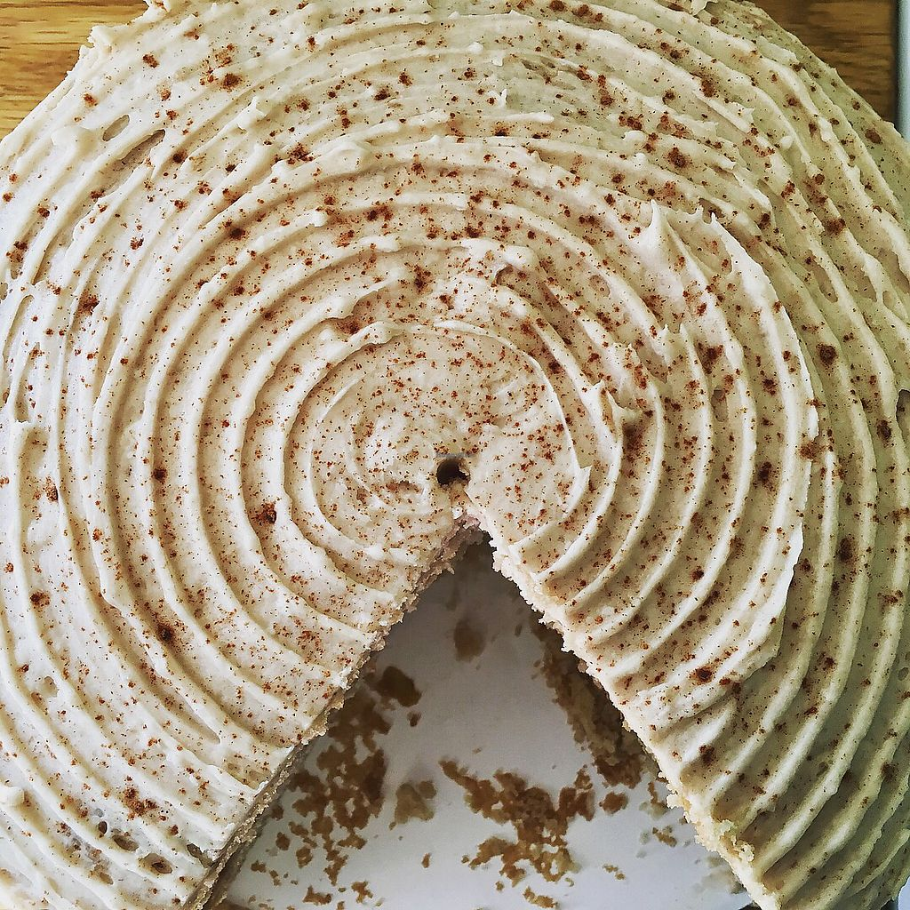 """Photo of Crumbs Bakery  by <a href=""""/members/profile/turtleveg"""">turtleveg</a> <br/>Apple cinnamon cake (vanilla cake with apple cinnamon filling and cinnamon buttercream frosting) Vegan!! <br/> March 13, 2018  - <a href='/contact/abuse/image/114490/370311'>Report</a>"""