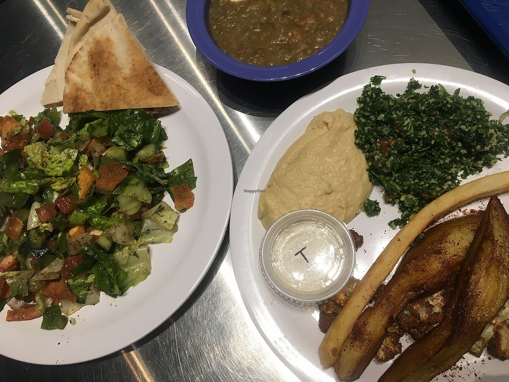 """Photo of Leyali's Mediterranean Grill  by <a href=""""/members/profile/Traveling.Plant_Eater"""">Traveling.Plant_Eater</a> <br/>Fattoush Salad, Veg Shwarma and Lentil Soup, so good! <br/> March 14, 2018  - <a href='/contact/abuse/image/114520/370546'>Report</a>"""