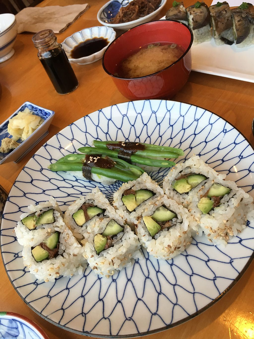 """Photo of Minako Organic-ish  by <a href=""""/members/profile/neil"""">neil</a> <br/>Delicious Vegan Sushi with Miso Soup and assorted pickled salads <br/> March 17, 2018  - <a href='/contact/abuse/image/114619/372162'>Report</a>"""