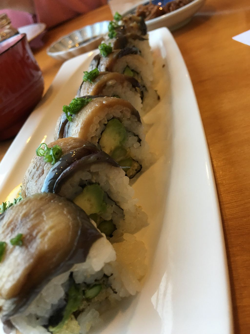 """Photo of Minako Organic-ish  by <a href=""""/members/profile/neil"""">neil</a> <br/>Amazing (eggplant) sushi with special aged tofu <br/> March 17, 2018  - <a href='/contact/abuse/image/114619/372165'>Report</a>"""