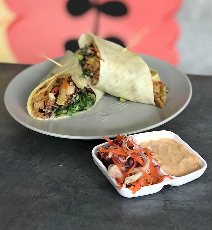 """Photo of Kitty Cafe  by <a href=""""/members/profile/lawkittycafe"""">lawkittycafe</a> <br/>All our wraps are served with vegan mayo dipping sauce & curtido slaw.  <br/> March 15, 2018  - <a href='/contact/abuse/image/114634/370957'>Report</a>"""