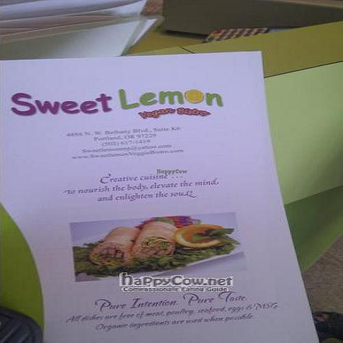 """Photo of Sweet Lemon Vegan Bistro  by <a href=""""/members/profile/katypine"""">katypine</a> <br/>the menu <br/> September 12, 2011  - <a href='/contact/abuse/image/11468/10583'>Report</a>"""