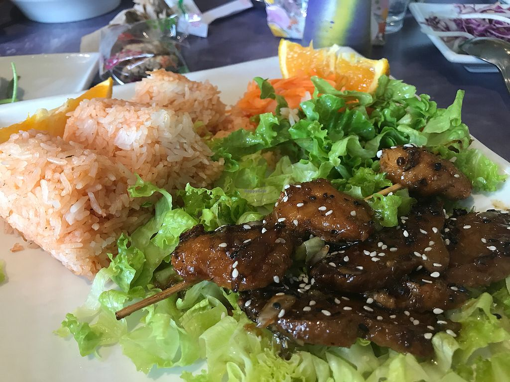 """Photo of Sweet Lemon Vegan Bistro  by <a href=""""/members/profile/Tata"""">Tata</a> <br/>Delicious vegan grilled pork on a stick. Sweet and savory. The taste and texture is amazing! Highly recommend <br/> November 5, 2017  - <a href='/contact/abuse/image/11468/322024'>Report</a>"""