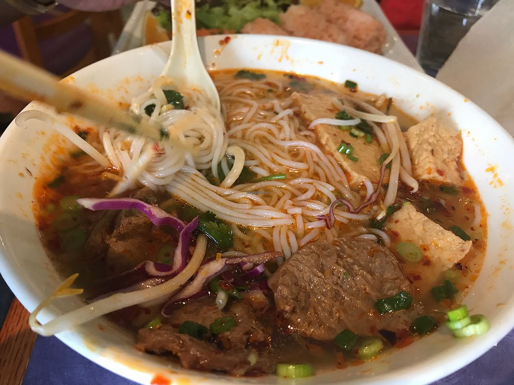 """Photo of Sweet Lemon Vegan Bistro  by <a href=""""/members/profile/Tata"""">Tata</a> <br/>Spicy Pho noodles. The owners are the nicest people. This place ranks one of the top in my book <br/> November 5, 2017  - <a href='/contact/abuse/image/11468/322025'>Report</a>"""