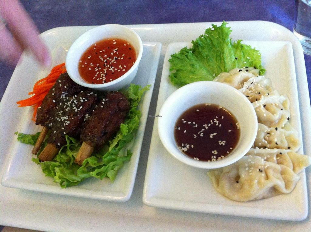 """Photo of Sweet Lemon Vegan Bistro  by <a href=""""/members/profile/Posi%20Britt"""">Posi Britt</a> <br/>Chickn drumsticks and dumplings! <br/> June 25, 2014  - <a href='/contact/abuse/image/11468/72768'>Report</a>"""