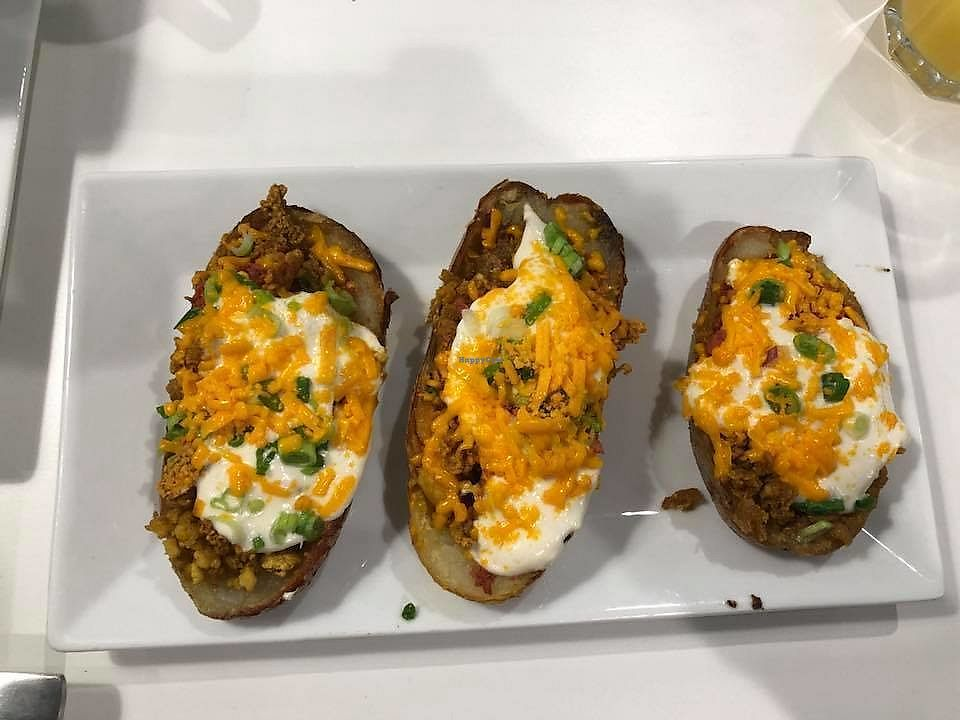 """Photo of The Modern Vegan  by <a href=""""/members/profile/plantbasedjetsetter"""">plantbasedjetsetter</a> <br/>Potato skins <br/> March 16, 2018  - <a href='/contact/abuse/image/114695/371143'>Report</a>"""