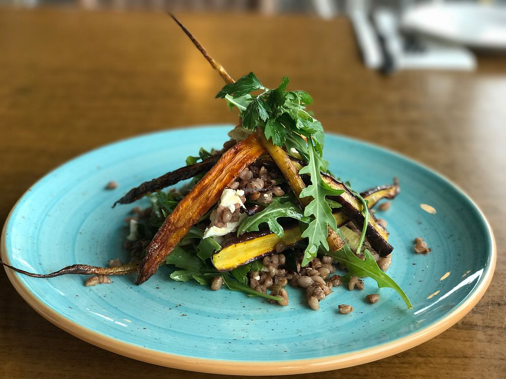 """Photo of The Deck  by <a href=""""/members/profile/thedeckthirroul"""">thedeckthirroul</a> <br/>Braised Barley, roasted carrots, pickled beetroot, rocket and goats cheese <br/> March 16, 2018  - <a href='/contact/abuse/image/114704/371529'>Report</a>"""