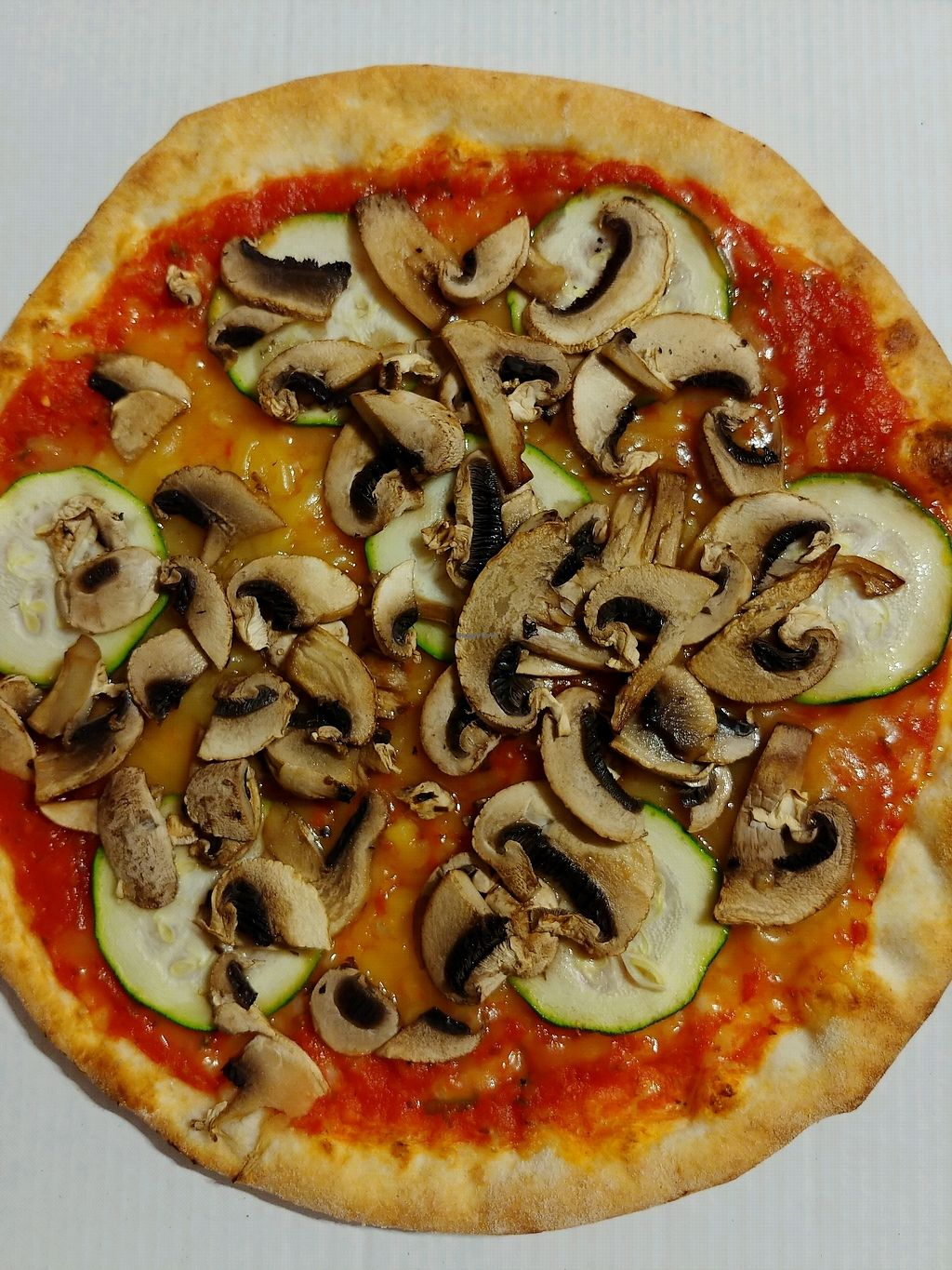 "Photo of Pizzeria Party  by <a href=""/members/profile/AthenaTrombly"">AthenaTrombly</a> <br/>Pizza with mushrooms, zucchini and vegan cheese <br/> March 17, 2018  - <a href='/contact/abuse/image/114758/371855'>Report</a>"