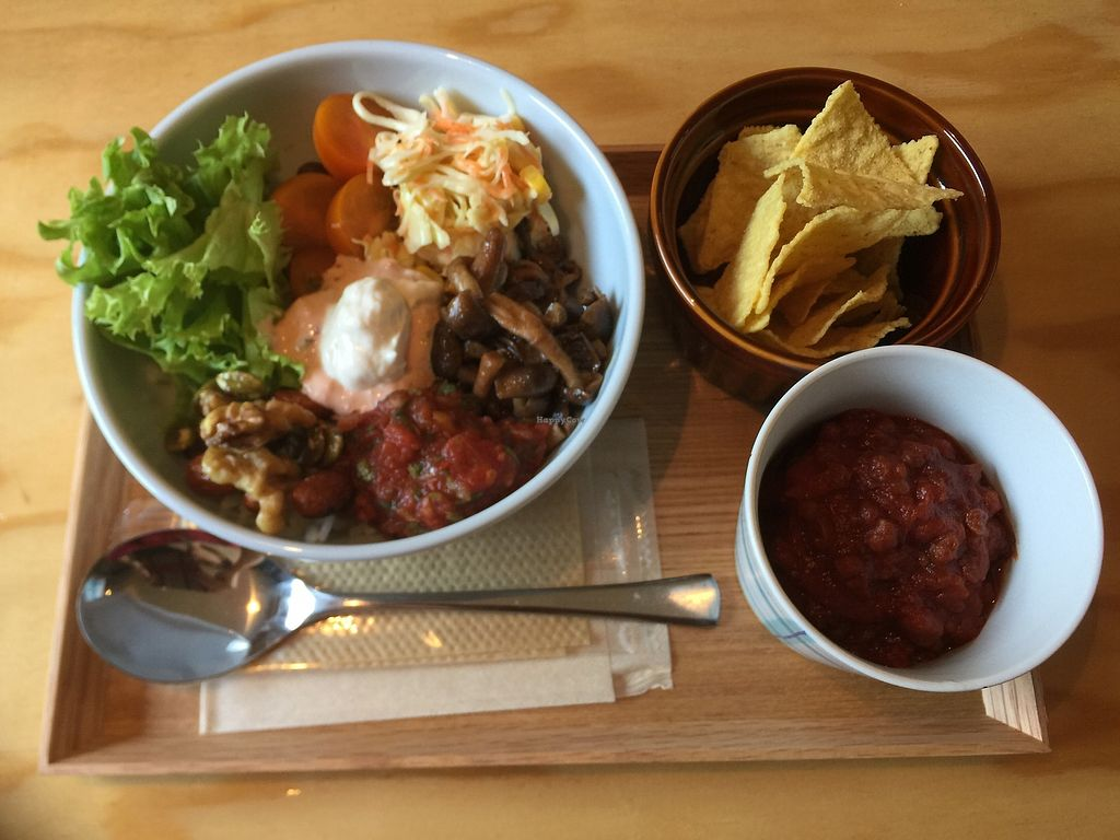 """Photo of Veggie Joint  by <a href=""""/members/profile/giruja"""">giruja</a> <br/>Veggie burrito bowl with yummy chili and nachos!! <br/> March 25, 2018  - <a href='/contact/abuse/image/114782/375879'>Report</a>"""