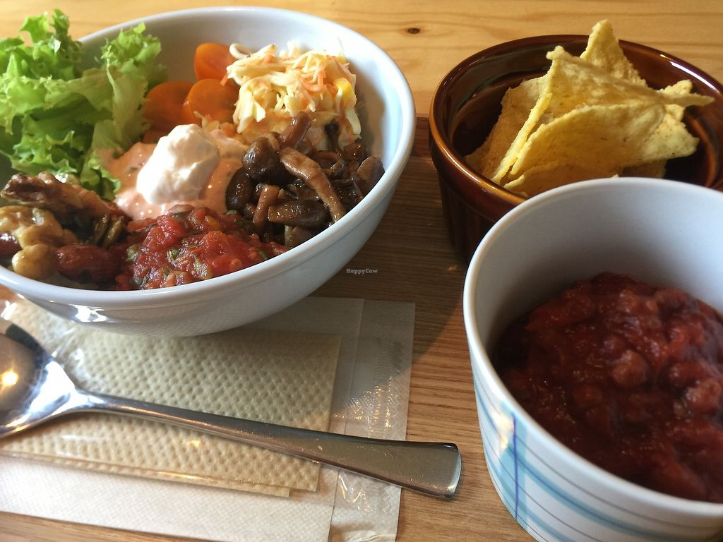 """Photo of Veggie Joint  by <a href=""""/members/profile/giruja"""">giruja</a> <br/>Veggie burrito bowl with yummy chili and nachos!! <br/> March 25, 2018  - <a href='/contact/abuse/image/114782/375880'>Report</a>"""