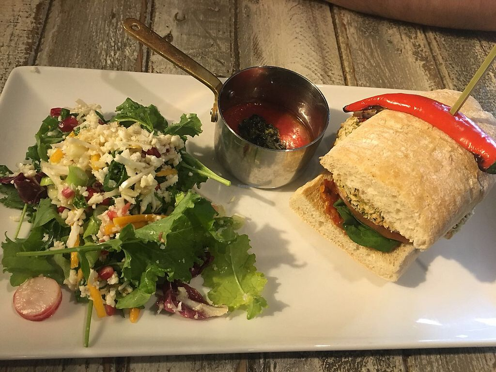 """Photo of The Oat Sheaf  by <a href=""""/members/profile/kasakaa"""">kasakaa</a> <br/>Roasted Aubergine, Spinach and Harissa Burger  <br/> April 8, 2018  - <a href='/contact/abuse/image/114845/382517'>Report</a>"""