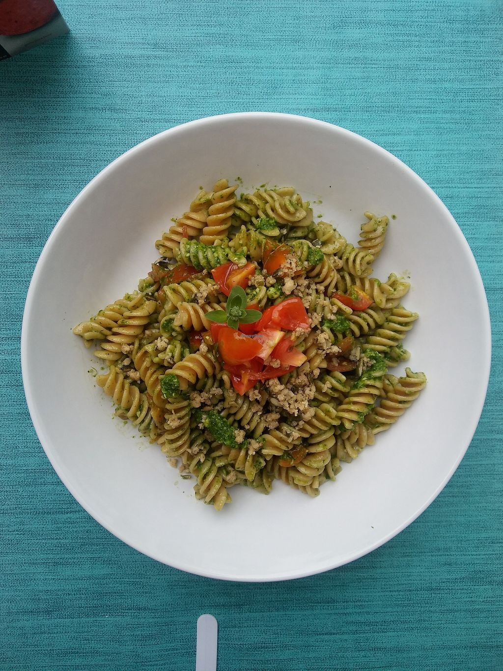 """Photo of Anam Eco- Cafeteria  by <a href=""""/members/profile/jeje"""">jeje</a> <br/>Brown pasta with rocket pesto and fresh tomatoes cherry from Gran Canaria.  <br/> March 24, 2018  - <a href='/contact/abuse/image/114922/375234'>Report</a>"""