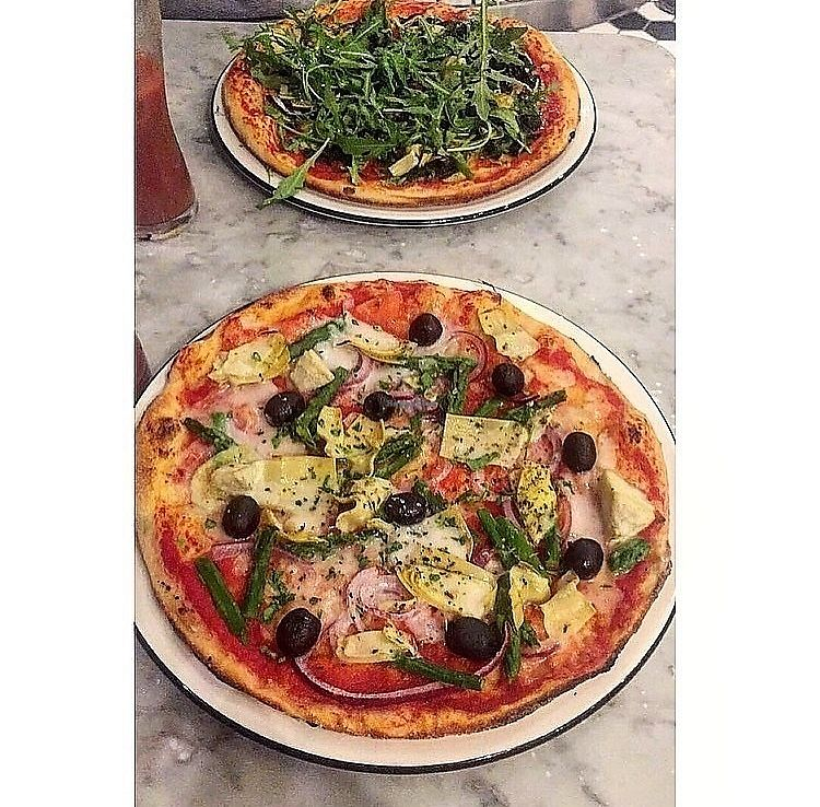 """Photo of Pizza Express  by <a href=""""/members/profile/123emily"""">123emily</a> <br/>Both vegan pizzas <br/> March 19, 2018  - <a href='/contact/abuse/image/114939/372948'>Report</a>"""