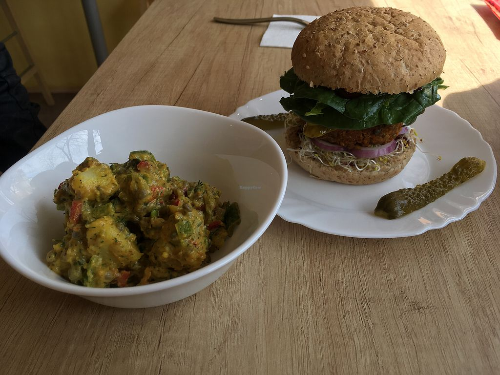 """Photo of Edgy Veggy  by <a href=""""/members/profile/SuzyJones"""">SuzyJones</a> <br/>Lentil burger and daily salad  <br/> March 30, 2018  - <a href='/contact/abuse/image/114944/378206'>Report</a>"""