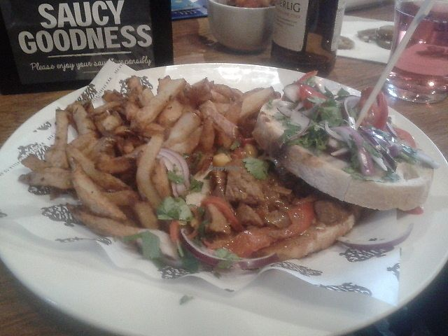 """Photo of The Brandling Villa  by <a href=""""/members/profile/deadpledge"""">deadpledge</a> <br/>Vegan philly cheesesteak with homemade fries <br/> March 19, 2018  - <a href='/contact/abuse/image/114960/372988'>Report</a>"""