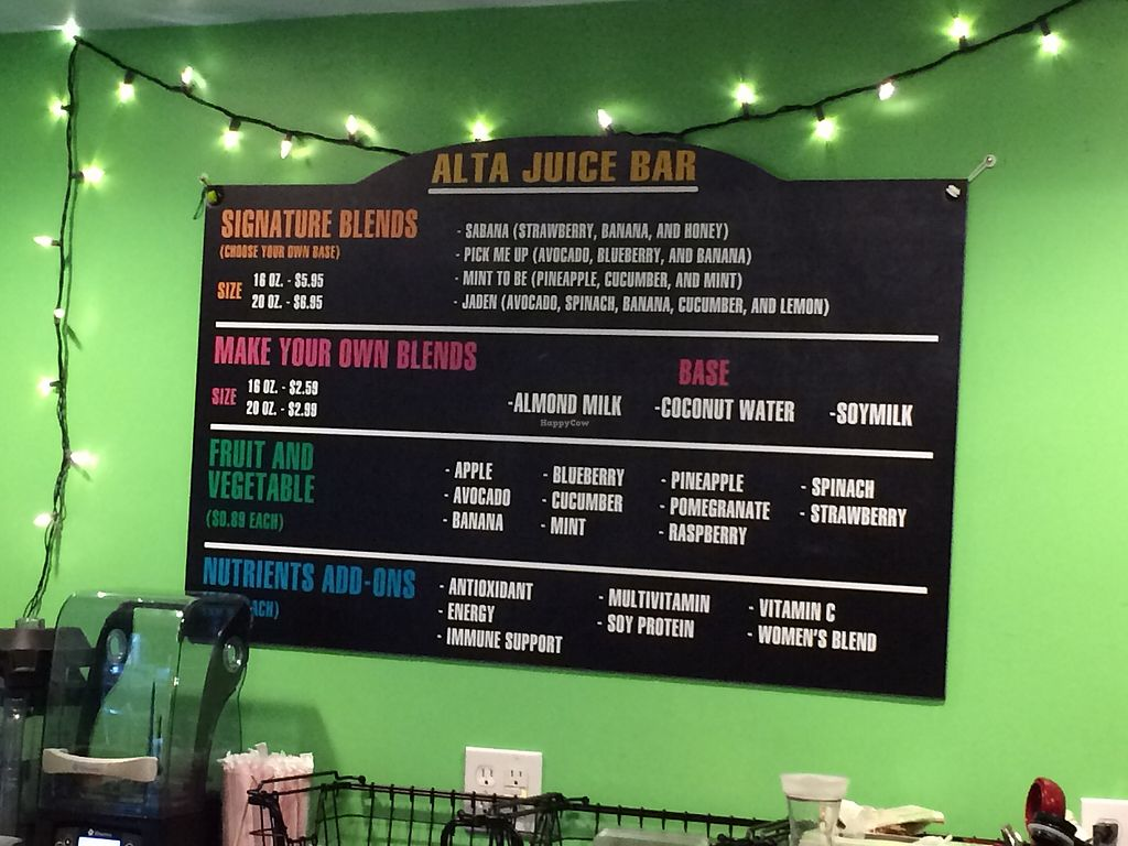 """Photo of Alta Healthy Cafe  by <a href=""""/members/profile/Arti"""">Arti</a> <br/>Juice and smoothie menu <br/> March 24, 2018  - <a href='/contact/abuse/image/115043/375470'>Report</a>"""