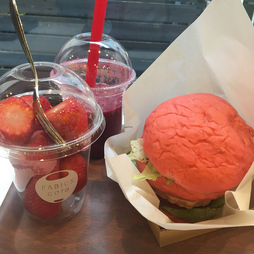 "Photo of Fabius Cafe  by <a href=""/members/profile/IsobelBlurton"">IsobelBlurton</a> <br/>Soy meat burger and raspberry smoothie <br/> April 3, 2018  - <a href='/contact/abuse/image/115069/380262'>Report</a>"