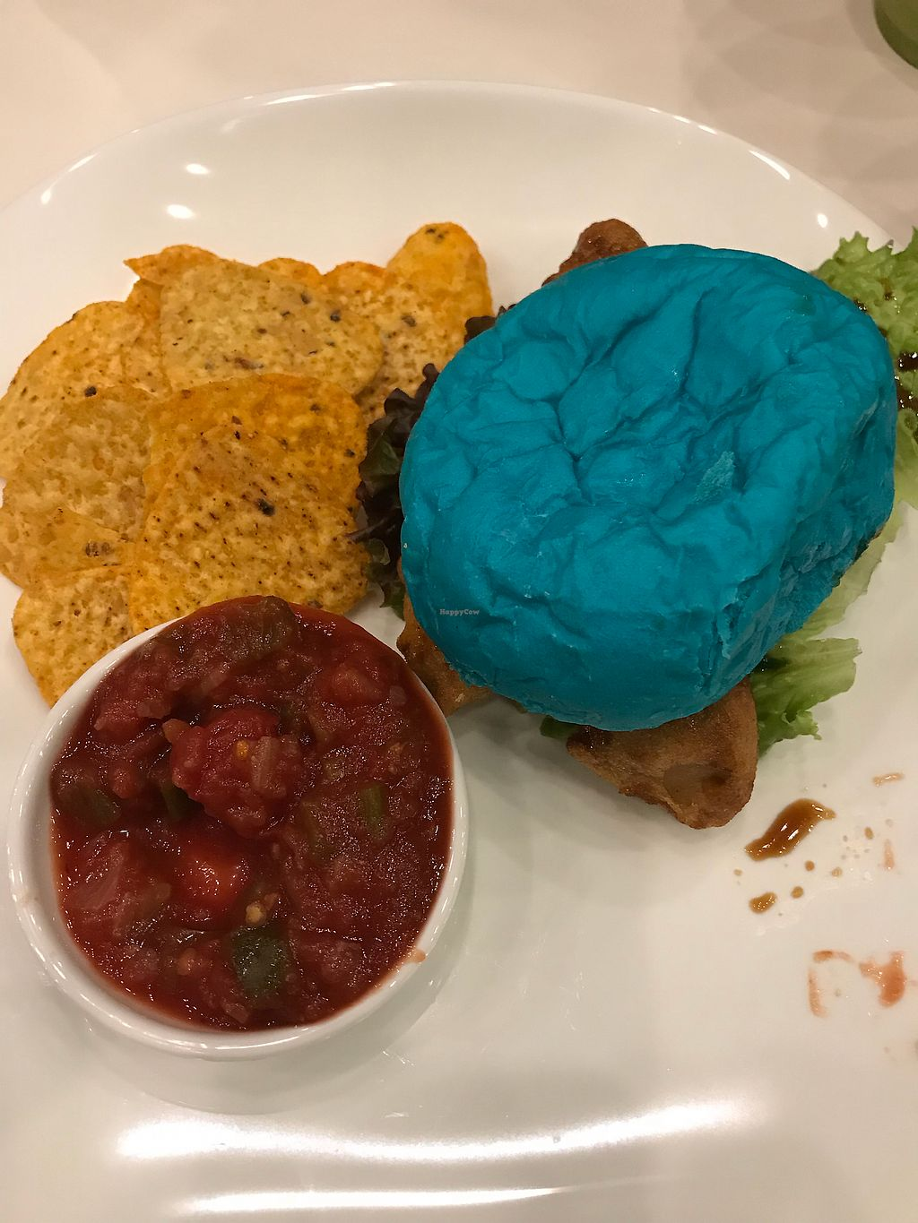 "Photo of Fabius Cafe  by <a href=""/members/profile/JoannaWatts"">JoannaWatts</a> <br/>Soy nugget burger in a blue bun! <br/> April 21, 2018  - <a href='/contact/abuse/image/115069/388977'>Report</a>"