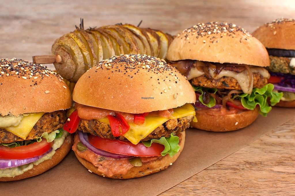 """Photo of The Wild Note  by <a href=""""/members/profile/BrazzaleRaffaela"""">BrazzaleRaffaela</a> <br/>Our four super-sized and delicious vegan burger : the Wild, the Green, the Country and the Falafel! <br/> March 21, 2018  - <a href='/contact/abuse/image/115073/373635'>Report</a>"""