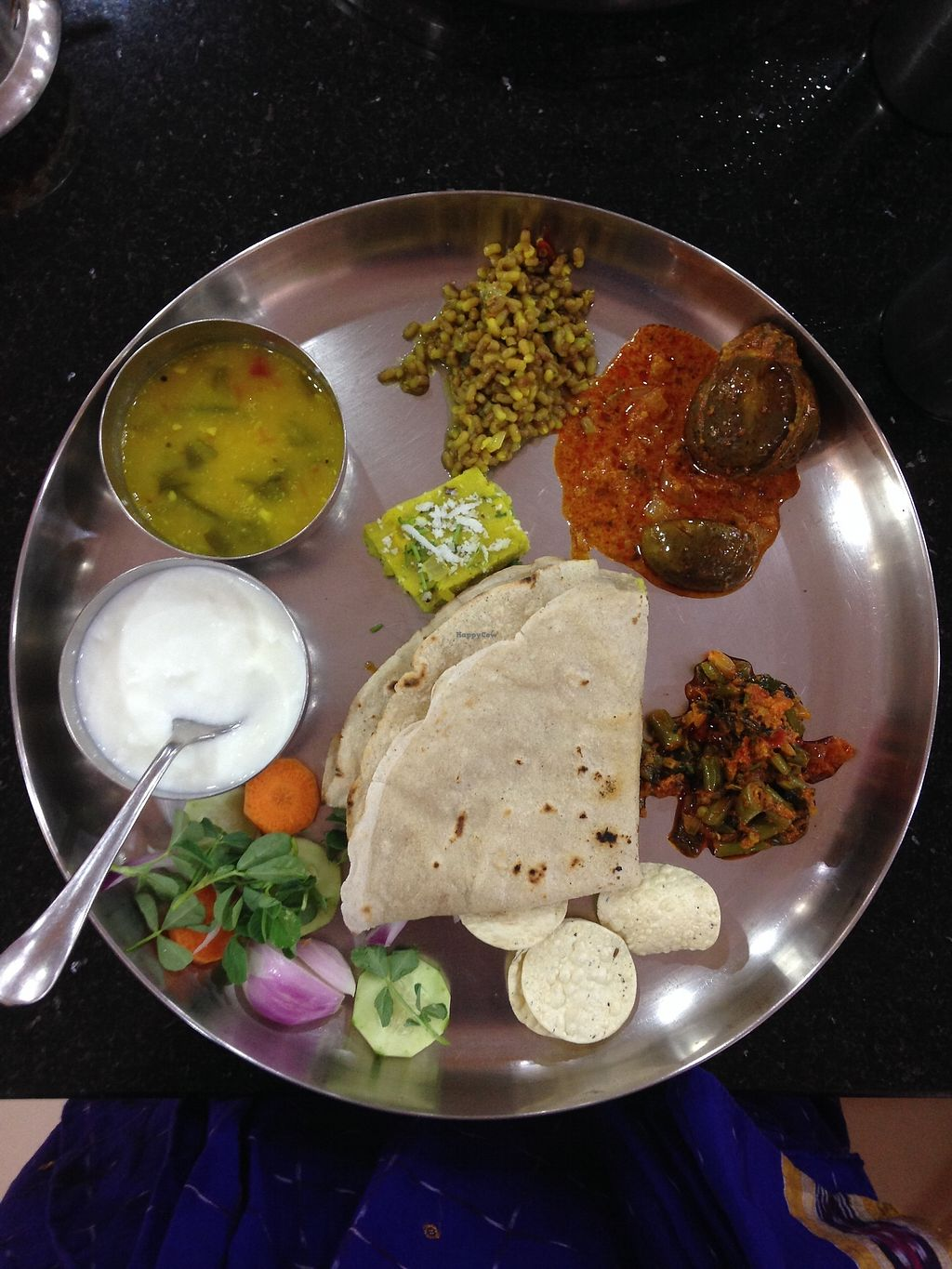 """Photo of Nalpak Rotti Zone  by <a href=""""/members/profile/LobkeBrasseur"""">LobkeBrasseur</a> <br/>Thali with jowar roti <br/> March 21, 2018  - <a href='/contact/abuse/image/115080/373585'>Report</a>"""