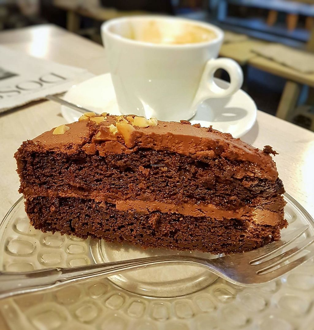 """Photo of Cafe Largo  by <a href=""""/members/profile/tim_green"""">tim_green</a> <br/>Vegan chocolate hazelnut cake <br/> April 10, 2018  - <a href='/contact/abuse/image/115084/383379'>Report</a>"""