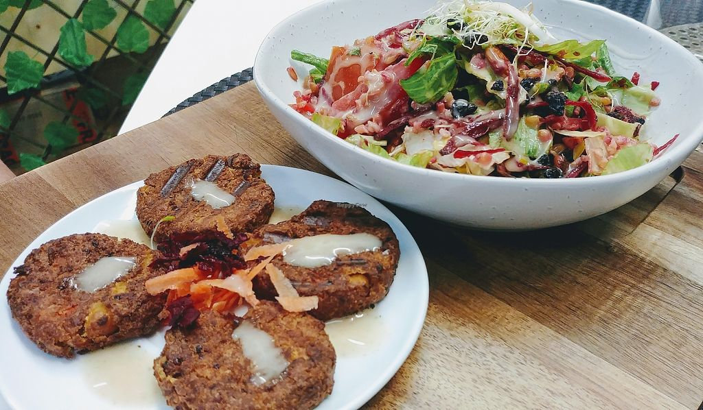 """Photo of Back2Nature Cafe  by <a href=""""/members/profile/karlaess"""">karlaess</a> <br/>Falafels with freekah salad   <br/> March 24, 2018  - <a href='/contact/abuse/image/115263/375195'>Report</a>"""
