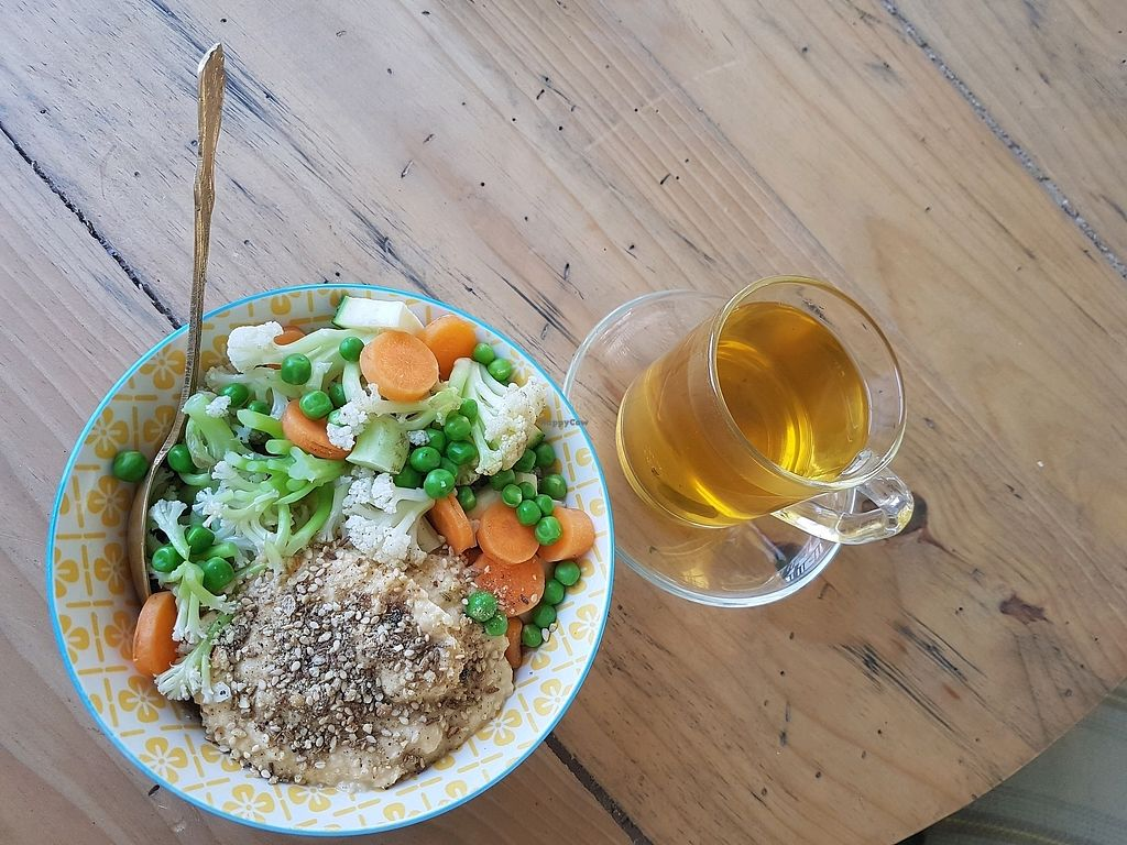 """Photo of Ayurvedico Cafe  by <a href=""""/members/profile/CrisArtes"""">CrisArtes</a> <br/>Buddha Bowl and Organic Green Tea <br/> March 23, 2018  - <a href='/contact/abuse/image/115312/374680'>Report</a>"""