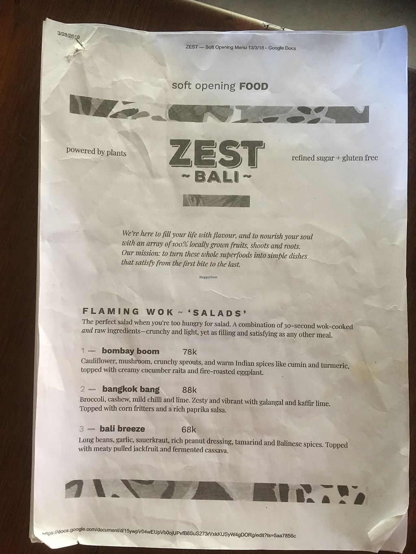 "Photo of Zest Ubud  by <a href=""/members/profile/IlonaGoossens"">IlonaGoossens</a> <br/>Menu <br/> April 14, 2018  - <a href='/contact/abuse/image/115319/385541'>Report</a>"