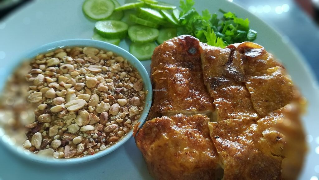 """Photo of Zhen Jie  by <a href=""""/members/profile/ChoyYuen"""">ChoyYuen</a> <br/>Fried tofu served with sweet and spicy sauce, cucumber and chopped coriander. It's delicious. It costs 20 baht only <br/> March 24, 2018  - <a href='/contact/abuse/image/115327/375091'>Report</a>"""