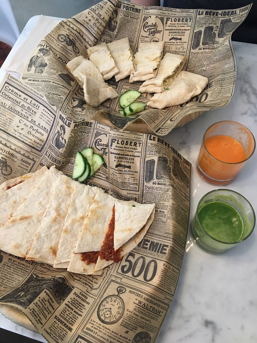 "Photo of SAJ  by <a href=""/members/profile/poppylev"">poppylev</a> <br/>Filled flatbreads and juices <br/> March 29, 2018  - <a href='/contact/abuse/image/115357/377822'>Report</a>"