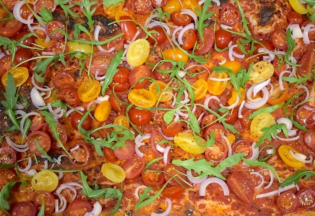 """Photo of Baked Pizza Al Taglio   by <a href=""""/members/profile/DafniBechtsi"""">DafniBechtsi</a> <br/>sugo, tricolore tomatini, shallots & rocket  <br/> April 2, 2018  - <a href='/contact/abuse/image/115370/379924'>Report</a>"""