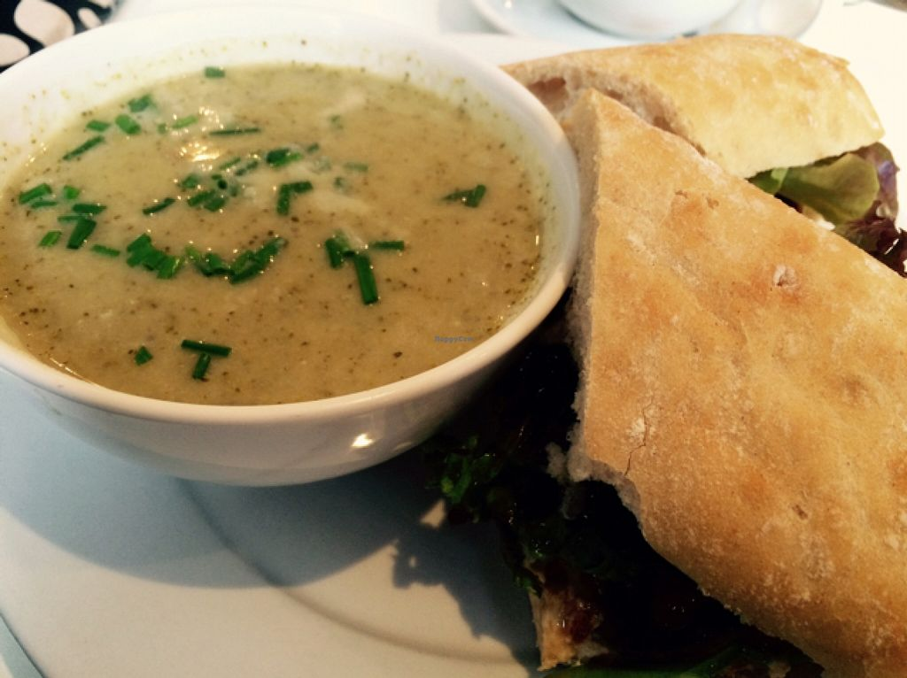 """Photo of Soul Food  by <a href=""""/members/profile/CiaraSlevin"""">CiaraSlevin</a> <br/>Broccoli soup, ciabatta roll filled with hummus, onion marmalade, roast peppers & salad leaves <br/> November 14, 2015  - <a href='/contact/abuse/image/11544/124937'>Report</a>"""
