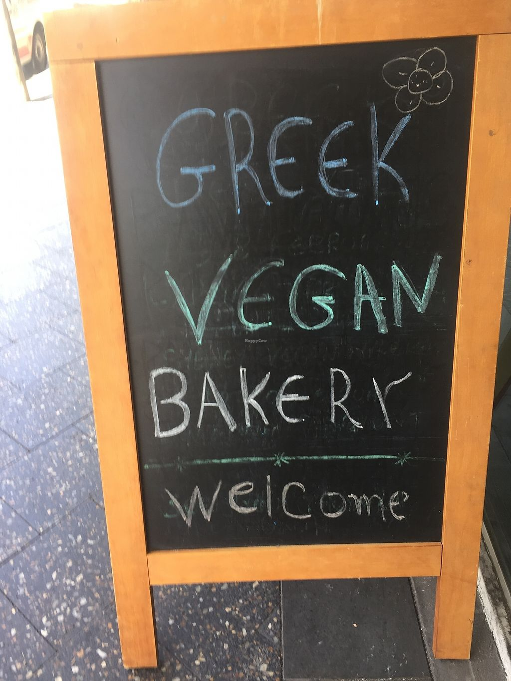"""Photo of Greek Vegan Bakery  by <a href=""""/members/profile/Kittybiscuit"""">Kittybiscuit</a> <br/>Sign <br/> March 24, 2018  - <a href='/contact/abuse/image/115482/375095'>Report</a>"""