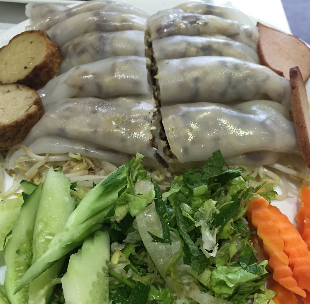 """Photo of Loving Hut  by <a href=""""/members/profile/MOJO%21"""">MOJO!</a> <br/>Rice Noodle Cakes  <br/> January 24, 2015  - <a href='/contact/abuse/image/11553/251263'>Report</a>"""