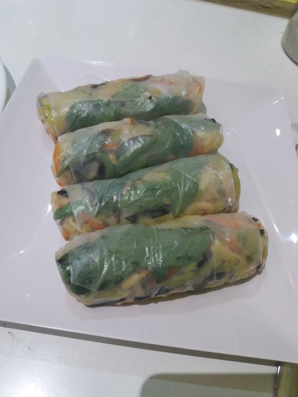 """Photo of Loving Hut  by <a href=""""/members/profile/veganvirtues"""">veganvirtues</a> <br/>Spring rolls <br/> July 23, 2017  - <a href='/contact/abuse/image/11553/283983'>Report</a>"""