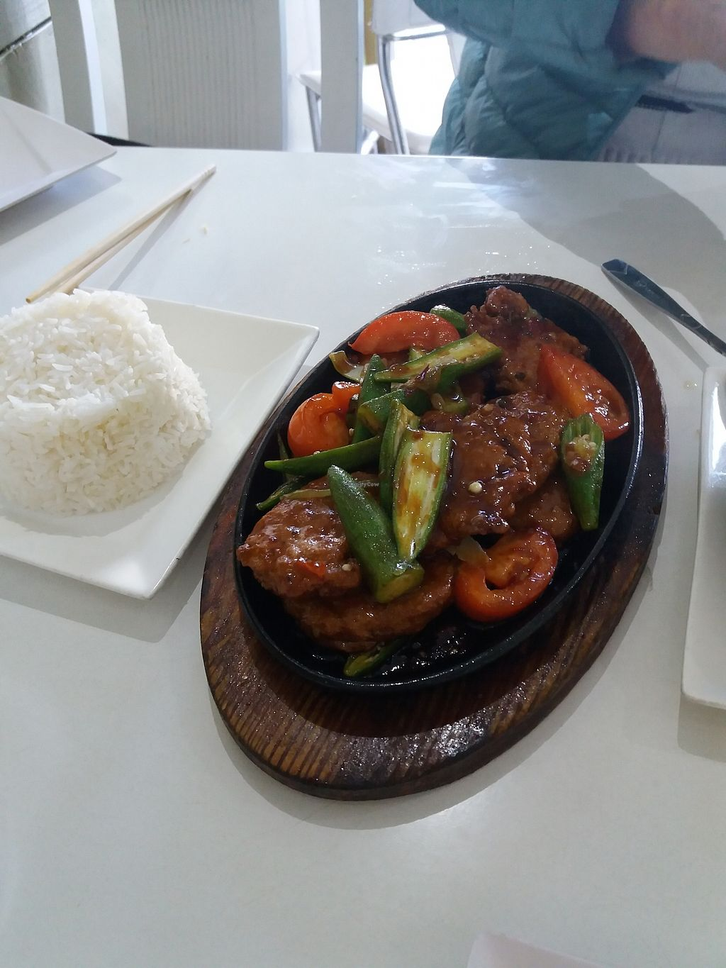 """Photo of Loving Hut  by <a href=""""/members/profile/veganvirtues"""">veganvirtues</a> <br/>Soy chicken with okra <br/> September 2, 2017  - <a href='/contact/abuse/image/11553/299879'>Report</a>"""