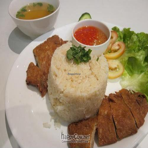 """Photo of Loving Hut  by <a href=""""/members/profile/MaitreyaBelmore"""">MaitreyaBelmore</a> <br/>Hainanese Veg Chicken Rice with Ginger Chilli sauce <br/> July 22, 2010  - <a href='/contact/abuse/image/11553/5255'>Report</a>"""