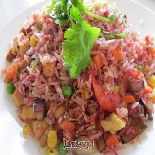 """Photo of Loving Hut  by <a href=""""/members/profile/MaitreyaBelmore"""">MaitreyaBelmore</a> <br/>Queens Fried Rice $10 (small) $15 (large) - special fried rice with beetroot juice <br/> October 15, 2010  - <a href='/contact/abuse/image/11553/6104'>Report</a>"""