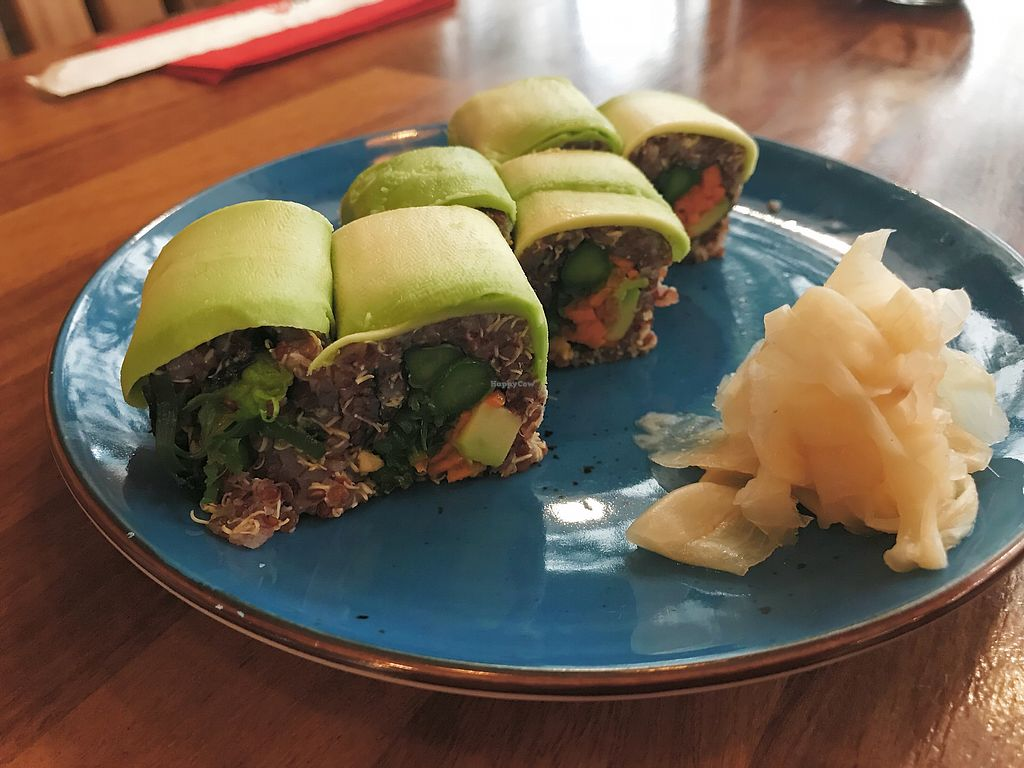 """Photo of SushiCo - Ataköy Plus AVM  by <a href=""""/members/profile/veganoteacher"""">veganoteacher</a> <br/>Vegan Sushi (rolll) <br/> March 25, 2018  - <a href='/contact/abuse/image/115551/375726'>Report</a>"""